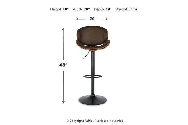 Bellatier Adjustable Height Bar Stool, Brown, large