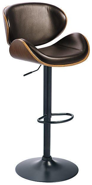 Bellatier Adjustable Height Bar Stool, Brown, large