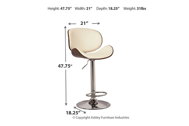 Bellatier Adjustable Height Bar Stool, Bone, large