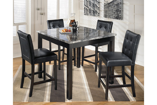 Black Maysville Counter Height Dining Room Table And Bar Stools Set Of 5 View