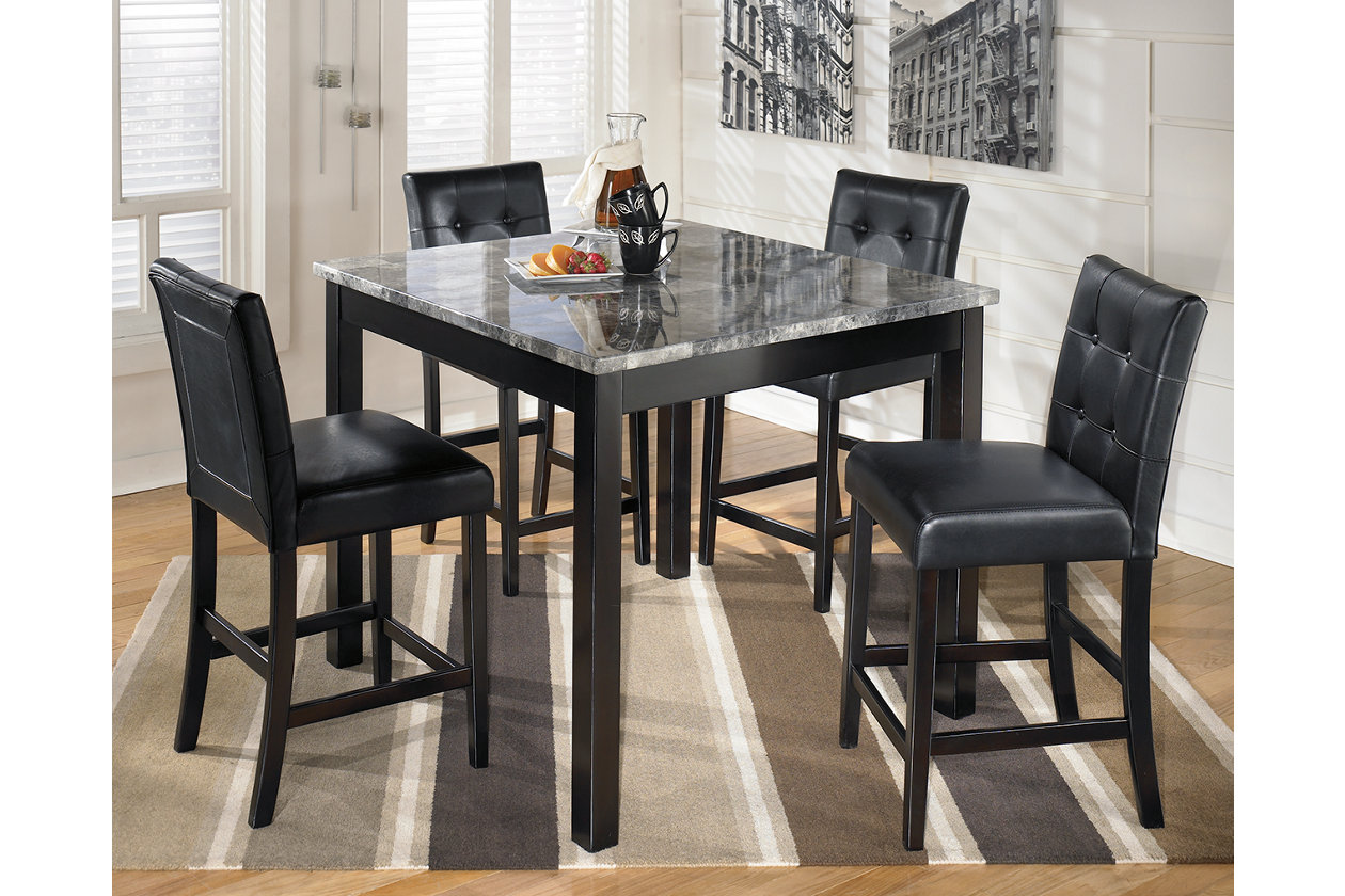 Maysville Counter Height Dining Room Table and Bar Stools (Set of 5 ...