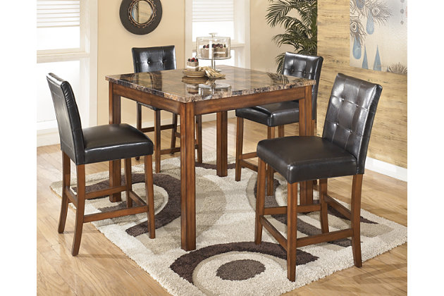 warm brown theo counter height dining room table and bar stools set of 5