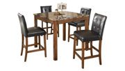 Theo Counter Height Dining Room Table and Bar Stools (Set of 5), , large