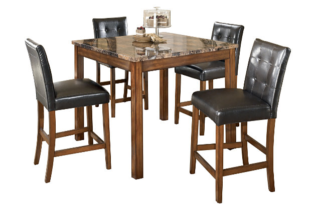 Theo Counter Height Dining Room Table And Bar Stools Set Of - Ashley furniture high top table