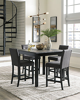 Garvine Counter Height Dining Room Table and Bar Stools (Set of 5), , large
