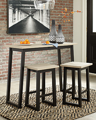 Waylowe Counter Height Dining Room Table and Bar Stools (Set of 3), , rollover