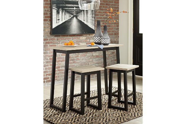 Waylowe Counter Height Dining Table and Bar Stools (Set of 3), , large