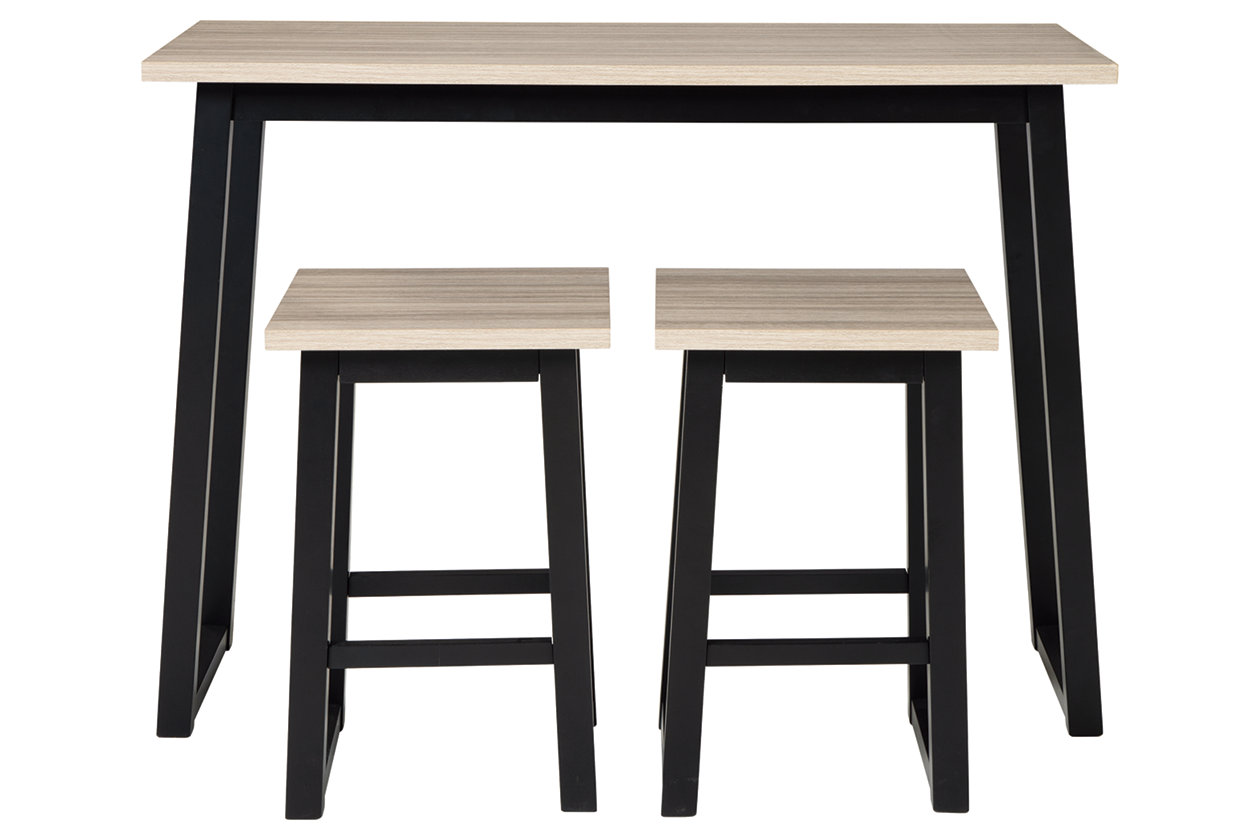 Waylowe Counter Height Dining Table And Bar Stools Set Of 3 Ashley Furniture Homestore