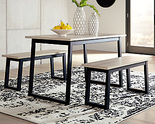 Waylowe Dining Room Table and Benches (Set of 3), , rollover