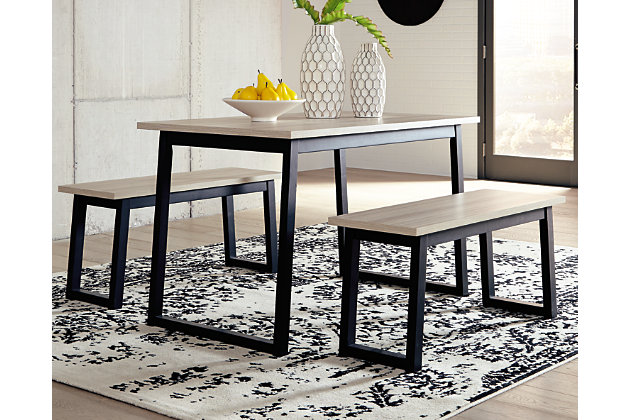 Waylowe Dining Room Table and Benches (Set of 3), , large