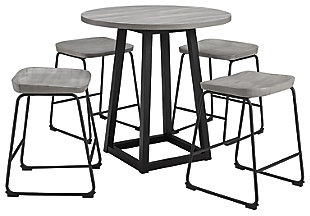 Showdell Counter Height Dining Table and 4 Barstools, Gray/Black, large
