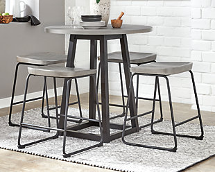 Showdell Counter Height Dining Table and 4 Barstools, Gray/Black, rollover