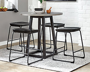 Showdell Counter Height Dining Table and 4 Barstools, Black, large