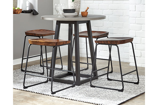 Showdell Counter Height Dining Table and 4 Barstools, Brown/Black, large