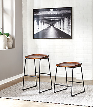 Showdell Counter Height Bar Stool, Brown/Black, rollover