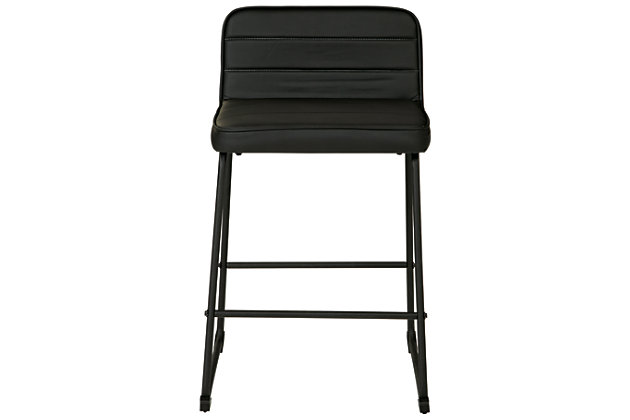 Nerison Counter Height Bar Stool, Black, large