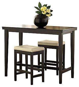 Kimonte Counter Height Dining Table and 2 Barstools, Cream, large