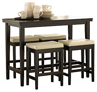 Kimonte 5-Piece Counter Height Dining Room, Ivory, large