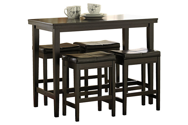 Kimonte 5-Piece Counter Height Dining Room, Dark Brown, large