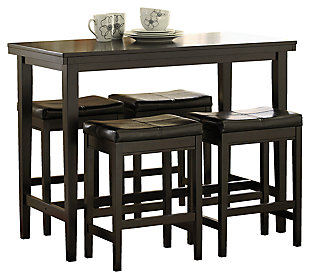 Kimonte Counter Height Dining Table and 4 Barstools, Dark Brown, large
