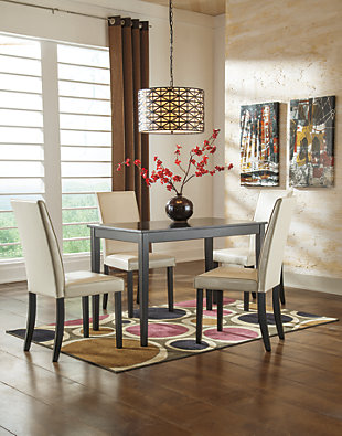 Kimonte Dining Table and 4 Chairs, Ivory, rollover