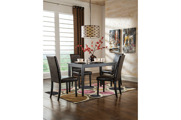 Kimonte 5-Piece Dining Room, Dark Brown, large