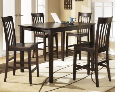 Hyland Counter Height Dining Room Table and Bar Stools Set of 5
