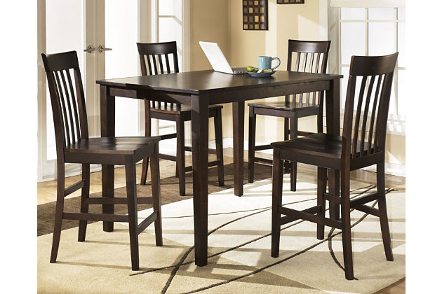 Hyland Counter Height Dining Room Table and Bar Stools (Set of 5) by Ashley HomeStore, Brown