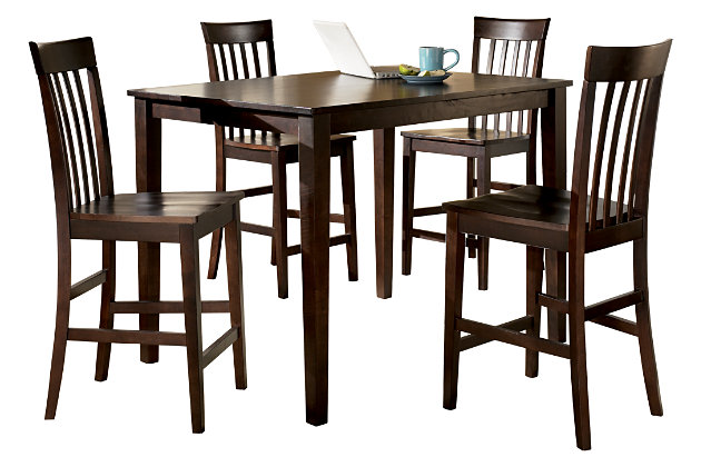 Hyland Counter Height Dining Room Table and Bar Stools (Set of 5 ...