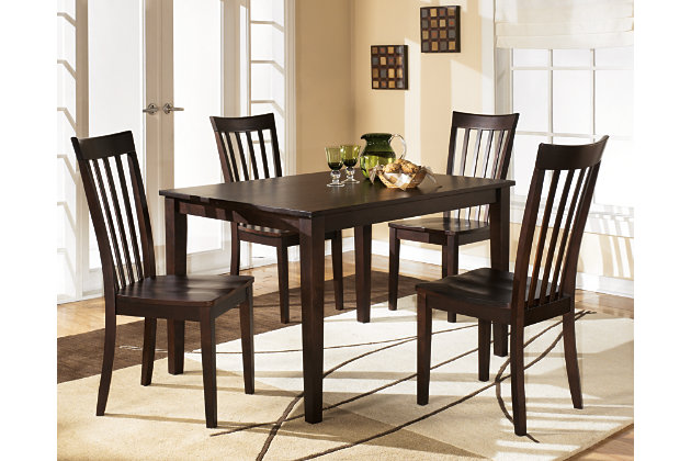 Hyland dining room table and chairs set of 5 ashley for Small dining room table sets