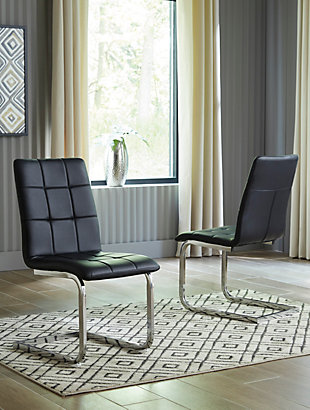 Madanere Dining Chair, Black/Chrome Finish, rollover