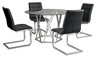 Madanere Dining Table and 4 Chairs, Black/Chrome Finish, large