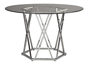 Madanere Dining Table and 4 Chairs, White/Chrome Finish, large