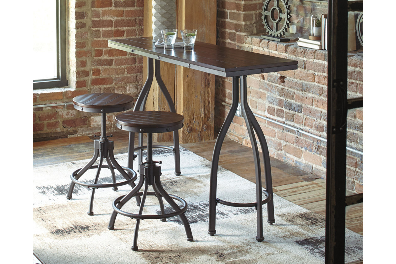 Odium Counter Height Dining Room Table and Bar Stools (Set ...