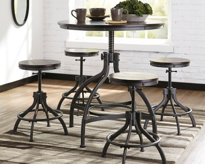 Ashley Odium Round Counter Height Table And Swivel Stool 5 Piece Set