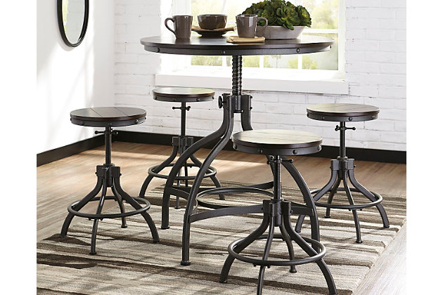 Odium Counter Height Dining Room Table and Bar Stools (Set of 5 ...