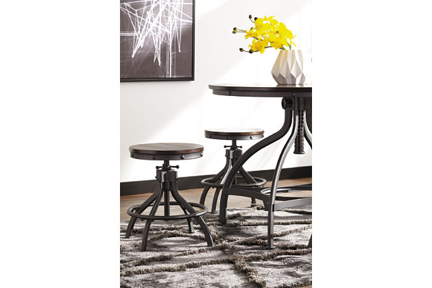 Brown Odium Counter Height Dining Room Table And Bar Stools Set Of 5 View