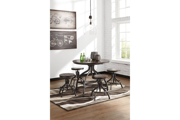 Odium Counter Height Dining Room Table and Bar Stools (Set of 5), , large