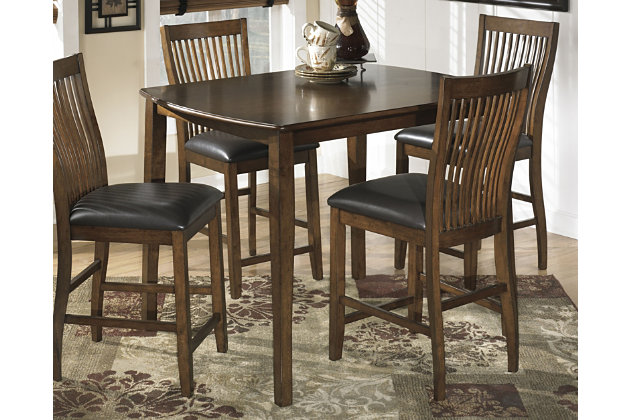 medium brown stuman counter height dining room table and bar stools set of 5