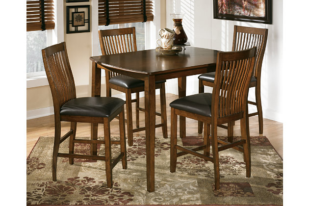 Stuman Counter Height Dining Room Table And Bar Stools Set Of 5 Ashley Fu