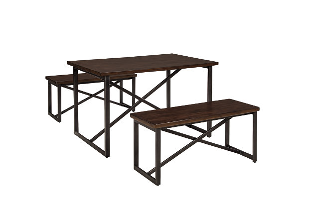 Joring Dining Room Table and Benches (Set of 3) by Ashley HomeStore, Brown