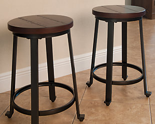 Challiman Counter Height Bar Stool, Rustic Brown, rollover