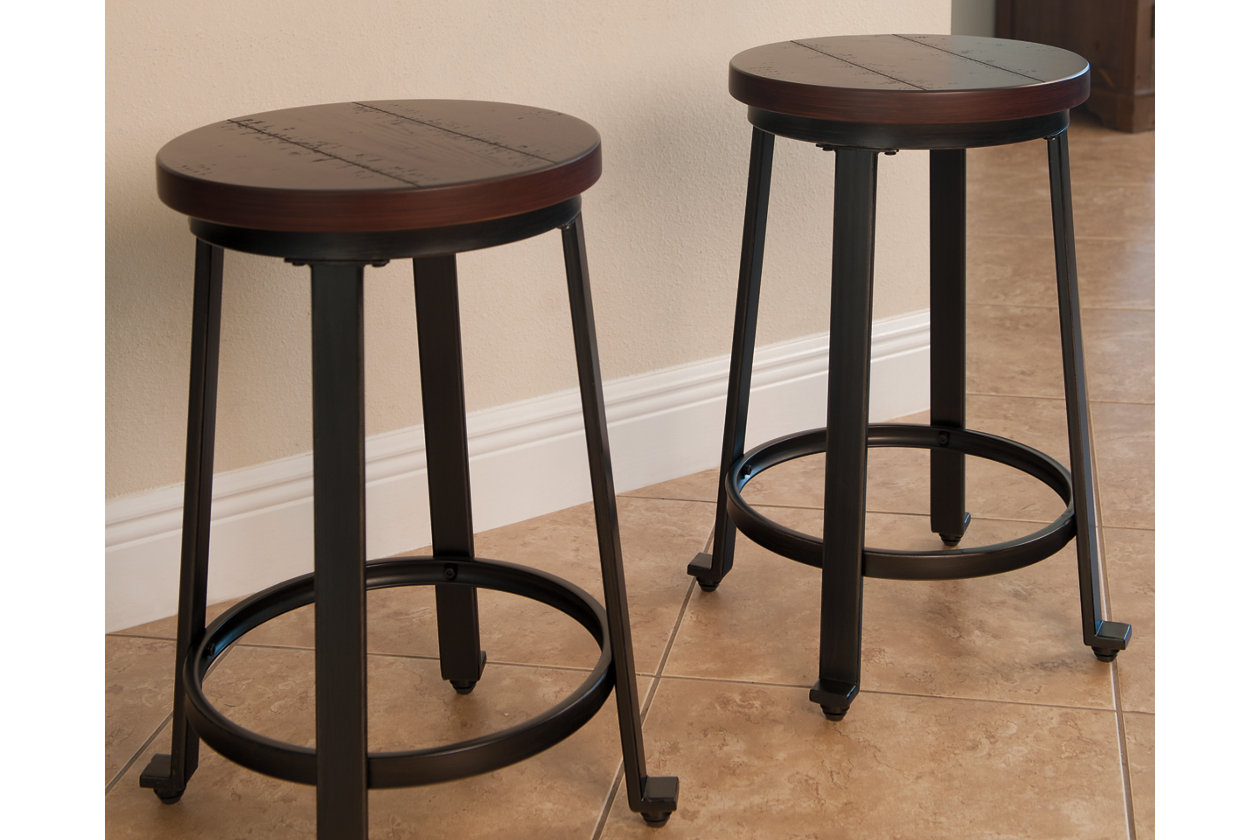 Signature Design by Ashley Furniture-Challiman Bar Stool-Counter Height-Set of 2-Rustic Brown
