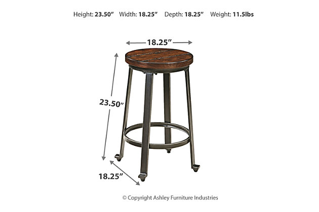Challiman Counter Height Bar Stool, Rustic Brown, large