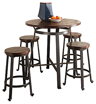 Challiman Counter Height Dining Table and 4 Barstools, , large