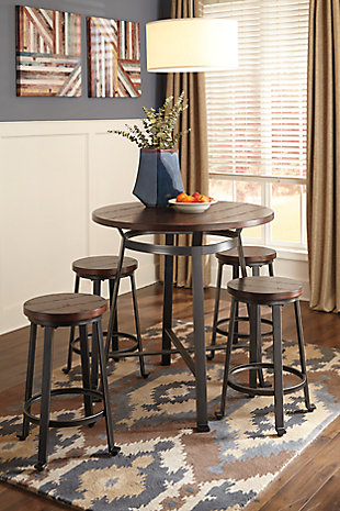 Challiman Counter Height Dining Table and 4 Barstools, , rollover