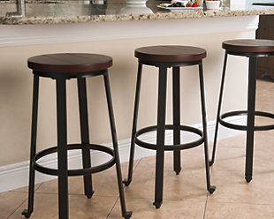 Challiman Bar Height Bar Stool, Rustic Brown, rollover
