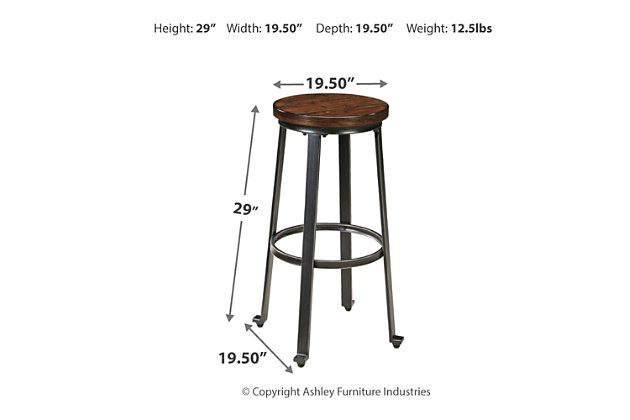 Challiman Bar Height Bar Stool, Rustic Brown, large