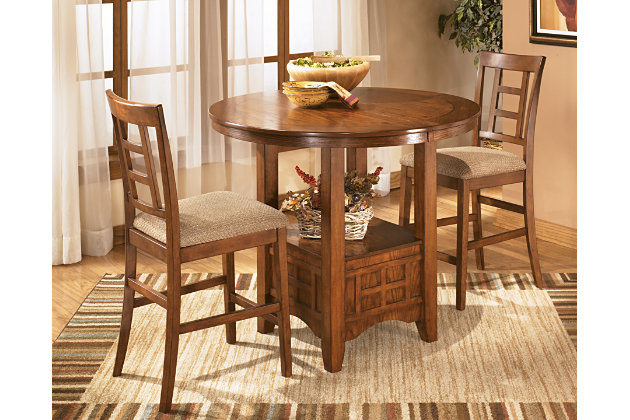 Cross Island natural wood counter height dining table with bar chairs