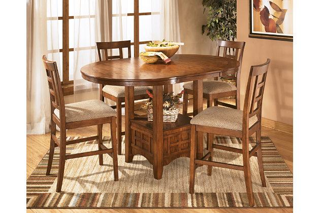 cross island casual wood counter height dining table with bar chair
